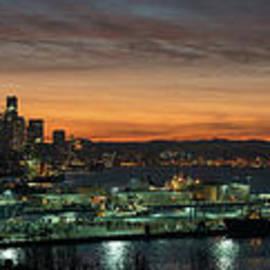 Seattle Early Morning Sunrise Panorama - Mike Reid