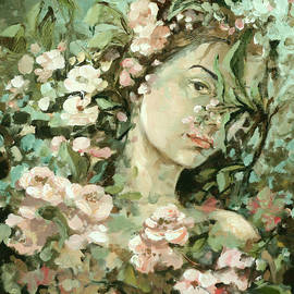Vali Irina Ciobanu - Self Portrait With Aplle Flowers