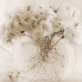Sandra Foster - Sepia Geraniums In Bubble Vase