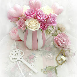 Shabby Chic Valentine Pink and Yellow Roses In Vase - Romantic Roses Skeleton Key Art - Kathy Fornal