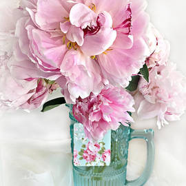 Shabby Chic Cottage Pink Peonies Peony Flower Print - Romantic Cottage Pink Aqua Peonies In Vase - Kathy Fornal