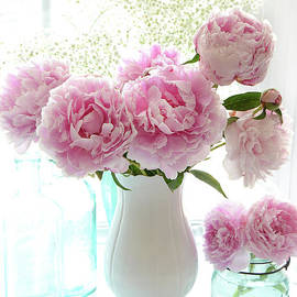 Shabby Chic Cottage Romantic Pink White Peonies In Window - Romantic Peonies Decor  - Kathy Fornal