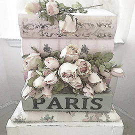 Shabby Chic Pastel Paris Books and Roses - Paris Watercolor Roses - Kathy Fornal