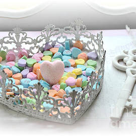 Shabby Chic Romantic Candy Hearts With White Key - Romantic Valentine Candy Hearts  - Kathy Fornal