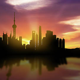 Shanghai Skyline Sunset CHSH22 - Aged Pixel