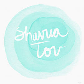 Shavua Tov Blue and White- Art by Linda Woods - Linda Woods