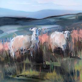 Donna Tuten - Sheep on a Hill at Brecon Beacons South Wales