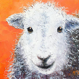 Jan Matson - Sheep painting on orange background