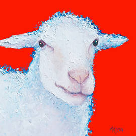 Jan Matson - Sheep painting on red background