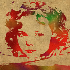 Shirley Temple Watercolor Portrait - Design Turnpike