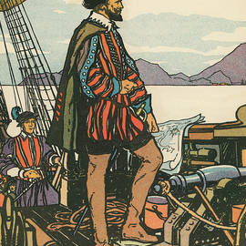 Sir Francis Drake on His Ship - American School