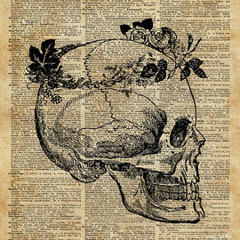Jacob Kuch - Skull in Floral Wreath Ink Drawing Dictionary Art
