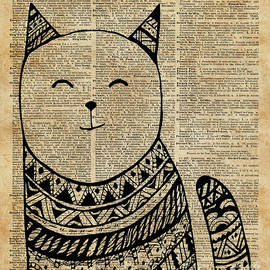 Jacob Kuch - Smiling Cat Pen and Ink Zentagle Dictionary Art
