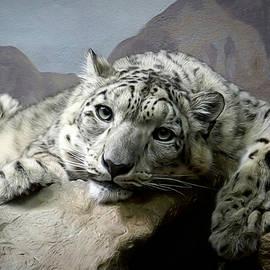 Ernie Echols - Snow Leopard Relaxing Digital Art