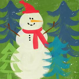 Snowman in Red Hat-Art by Linda Woods - Linda Woods