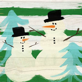 Snowmen With Blue Trees- Art by Linda Woods - Linda Woods