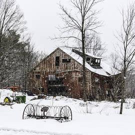 Betty Denise - Snowy Barn Leaning Towards Sawyer