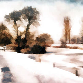 Valerie Anne Kelly - The Stile in Winter-Landscape Painting By V.kelly