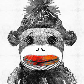 Sharon Cummings - Sock Monkey Art In Black White And Red - By Sharon Cummings