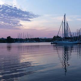 Georgia Mizuleva - Soft Purple Ripples - Yachts and Clouds Reflections