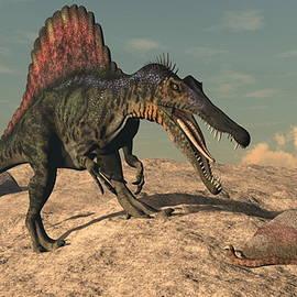 Elenarts - Elena Duvernay Digital Art - Spinosaurus dinosaur hunting a snake - 3D render