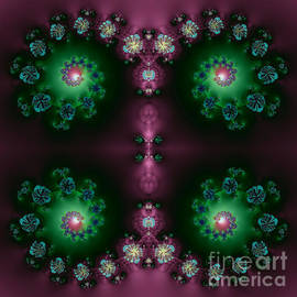 Rose Santuci-Sofranko - Spiral Galaxies Fractal in Purple and Green