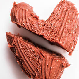 Split hearts chocolate fudge on white plate - Jorgo Photography - Wall Art Gallery