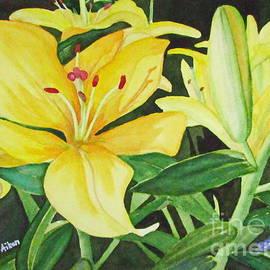 Hao Aiken - Spring Gold - Lilies Watercolor