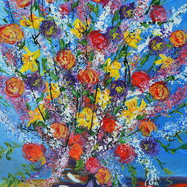 Kathy  Symonds - Spring has Sprung- abstract floral art- still life