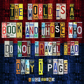 St Augustine Quote on Travel The World is a Book Recycled Vintage License Plate Art - Design Turnpike