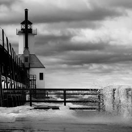 David T Wilkinson - St Joseph Lighthouse Winter Wind B W