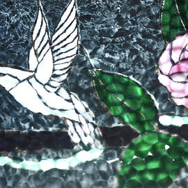 Stained Glass Bird And Flowers