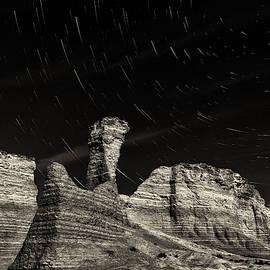 Bill Kesler - Star Trails - Monument Rocks - Black-and-White