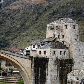 Stari Most Ottoman bridge and embankment fortification Mostar Bosnia Herzegovina