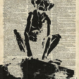 Stencil Of Gollum,Smeagol Over Old Dictionary Page