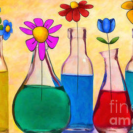 L Wright - Still Life - Garden Flowers by Liane Wright