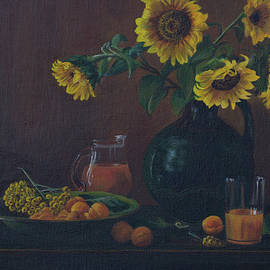 Elena Pavlova - Still life. Sunflowers in the jug.