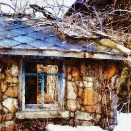 Janine Riley - Stone barn old Blue window