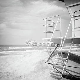 Stormy Huntington Beach Black and White Photo - Paul Velgos