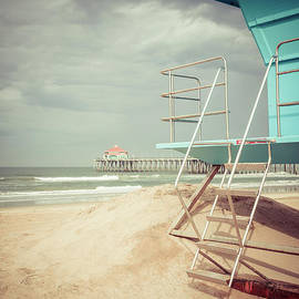 Stormy Huntington Beach Pier and Lifeguard Stand - Paul Velgos
