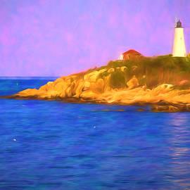 Jeff Folger - Sun reflecting on Bakers Island Lighthouse