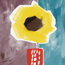 Sunflower In A Small Vase- Art by Linda Woods - Linda Woods