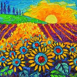 Ana Maria Edulescu - Sunflowers And Lavender At Sunrise Palette Knife Oil Painting By Ana Maria Edulescu