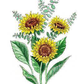 Irina Sztukowski - Sunflowers Botanical Bouquet