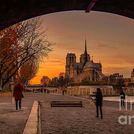 Howard Ferrier - Sunset along the Seine