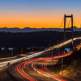 Rob Green - Sunset and Streaks of Light - Narrows Bridges Tacoma WA