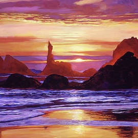 David Lloyd Glover -  Sunset At Oregon Rocks
