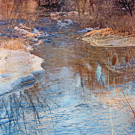 Gretchen Wrede - Sunset Glow over Cattails and Icy Winter Creek