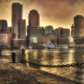 Joann Vitali - Sunset Over Boston Harbor Skyline