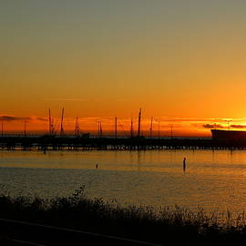 Christiane Schulze Art And Photography - Sunset Over Columbia River At Astoria Harbor